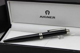 Free Shipping ! ! Aigner Metal Gift Pen Silver Clip Black Paint Ballpoint Pen Luxury Pen Black Wood Box