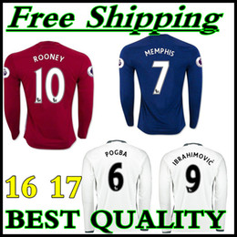 Wholesale best Thailand Quality MancHester Long sleeve home way rd jerseys Ibrahimovic MEMPHIS ROONEY POGBA shirt
