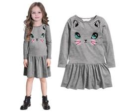 Cute Cat Printed Girls Dress Long Sleeve Boat Neck Cotton Blend Pleated Mini Dress kids Clothing