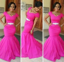 Wholesale 2015 African Traditional Bridesmaid Dresses Fuchsia Mermaid Capped Long Bridesmaid Dresses Formal Evening Party Gowns