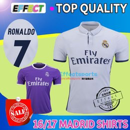 Wholesale 2017 Thai Quality madrid soccer Jerseys Uniforms RONALDO home white away Purple Maillot de foot JAMES BALE RAMOS ISCO football shirts