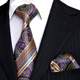 Wholesale E9 Mens Tie Set Multicolor Purple Yellow Blue Paisley Stripes Neckties Handkerchieves 100% Silk Free Shipping