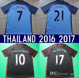 Wholesale Thailand Quality Season Customized Soccer Jerseys Football Jerseys KUN AGUERO TOURE YAYA Navas DE BRUYNE SILVA