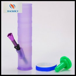 Wholesale 2016 news recycler Silicon glass bongs with metal pipe plastic casing circle glass bongs mini glass Hookah glass water pipes Cup glass pipes