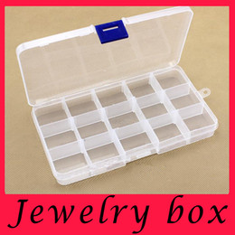 Wholesale 10pcs Grids Transparent Adjustable Slots Jewelry Bead Organizer Box Storage plastic jewelry storage box