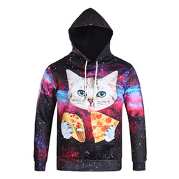 Wholesale 2016 new big size large hoodie cute pizza cat fat mens cloth casual pullover D print five size sweatshirts