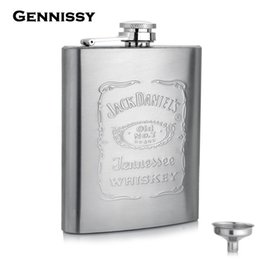 Wholesale GENNISSY oz Hot Sale Jack Daniel Hip Flask Stainless Steel Mini Alcohol Bottle Outdoor Portable Pocket Whiskey Flask