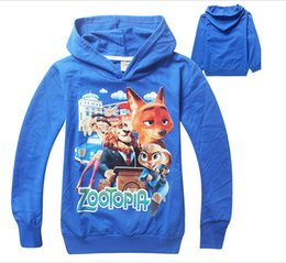 HOT!! 2016 High quality fashion years old Wild animals children's wear hoodies ZOOTOPIA cotton boys