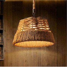 2016 retro rope vintage pendant lights industrial pulley lighting Bar Kitchen iron loft pulley light lampara de techo Light Fixtures