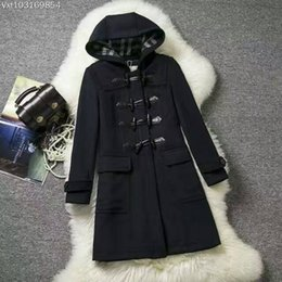 Wholesale Best Sales Women Long Blue Ask Woolen Overcoat British London Vintage Style Fashion Brand New Designer Plus Size XxL Fast Shipping BC1200