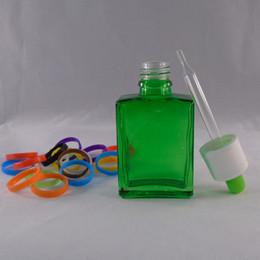 Rectangle eliquid glass dropper bottle 30ml clear green ejuice square dropper bottle for electronic cigarette oil cheap 30ml glass bottle