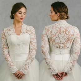 Hot Sale 2016 Bridal Wraps Long Sleeves Bridal Coat Lace Jackets Wedding Capes Wraps Bolero Jacket Wedding Dress Wraps Plus Size