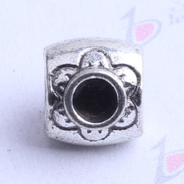 Oval Pandora loose Bead Plum Blossom charm antique silver bronze Zinc Alloy Charms European Beads Fit Pandora Bracelets 100pcs 2408