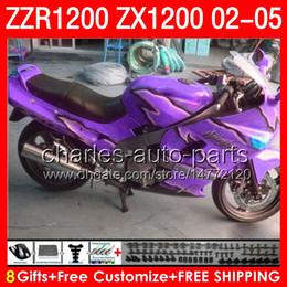 purple black 8gifts Body For KAWASAKI NINJA ZZR1200 02 03 04 05 ZX1200 C 7NO67 ZX1200C glossy purple ZZR 1200 2002 2003 2004 2005 Fairing