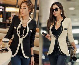 Wholesale Women Slim Suit Blazer Ladies Fasion Elastic Jacket and Coats Overcoat Black White Split Joint Long Sleeve S XL