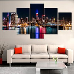 Fashion City Night and Bridge 5 Panels Set Large HD Picture Canvas Print Painting Artwork Wall Decorative Oil painting Unframed