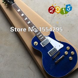 Wholesale LP Standard Electric Guitar with TonePros ABR bridge Flamed Maple Top Blue Guitarra Real photo shows All Color are available