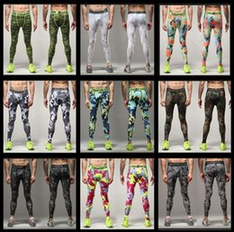 Wholesale 2016 new Mens Running Camo Base Layer Fitness Jogging Compression Tights Long Pants Sport Basketball Training Leggings Mens Gy