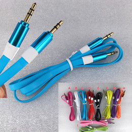 High Quality Color Metal 3.5mm Flat Noodle Metal Car Aux Audio Cable For CD MP3 iphone cellphone Speaker