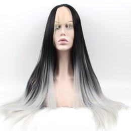 Wholesale Ombre Black grey synthetic hair lace front wig for african americans26inch free part black baby hair fast shipping