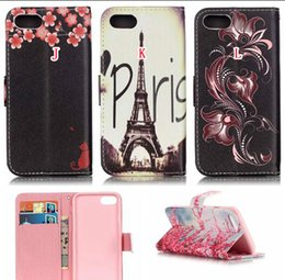 For Iphone 7 Plus Iphone8 8 I7 Wallet Leather Pouch Case Flower ID Card Holder Stand TPU Dream catcher Eiffel Tower Cartoon Book Skin Cover