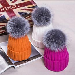 Fur Cap Bobble Hat With Silver Fox Fur Ball Lady Fur Hat