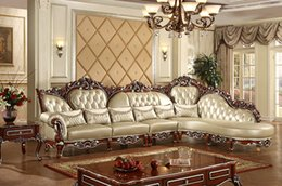 Wholesale Antique Genuine Leather Chaise Lounge Sofe Carving Gold Drawing Indoor room Furniture Luxury L Shaped combination Sofa Solid Wood Furniture