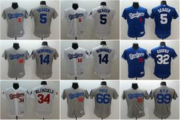 Wholesale Men Los Angeles Dodgers Corey Seager Enrique Hernandez Valenzuela Puig Hyun Jin Ryu flexbase baseball jerseys Stitched mlb