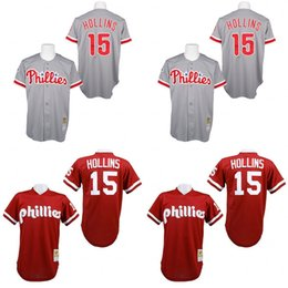 Wholesale Red Grey Throwback Dave Hollins Jersey Men s Mitchell And Ness Philadelphia Phillies
