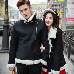 Fall-2015 winter couples dress suede coat jacket thick wool lamb Coat Size tide fashion for men and women