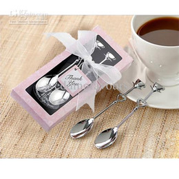 Wholesale Quality boxes Romantic Silver Demitasse Coffee Spoons Wedding Favors Party gits Bridal Shower Favors