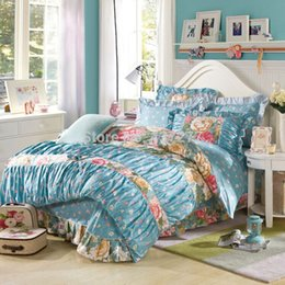 Wholesale Lace Cotton Twin Sheets - Korean flower reactive printing cotton bedding sets bedspreads queen king with reversible duvet cover lace sheet 4 5pc bed set