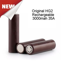 Wholesale Rechargeable Batteries Hg2 mah Cell Battery High Drain amp V For W Box Mod Free Ship