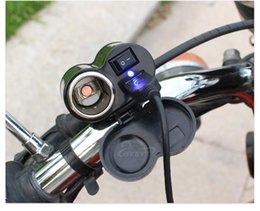 2 in 1 Motorcycle USB Charger Adaptors 2 in 1 Socket YF122 12 24v Black Universal Interface Motorbike Phone Charger Cigarette Lighter