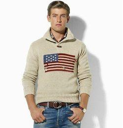 Wholesale High Quality USA Flag Winter Famous Brand men s mans Men s long sleeved Polo sweater Zipper collar Jumper Shirt sweater