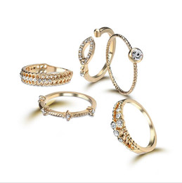 2017 Fashion New Plating 18K Open Joint Rings Set Combination Diamond Gold Rings Female 1 set = 5 pieces