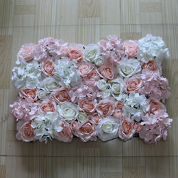 Free Shipping 10pcs   lot Artificial silk rose light pink and white hydrangea flower wall wedding background decoration