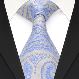 Free Shipping F23 Light Blue Azure White Silver Floral Paisley Mens Ties Necktie Brand New 100% Silk Handmade