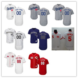 Wholesale 30 teams custom Elite Men s MLB L A Dodgers Colorado Rockies Cincinnati Reds Flexbase Authentic Collection Custom Jersey Stitched