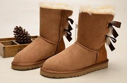 Wholesale 2016 Christmas gift Womens boots BAILEY BOW Boots winter Snow Boots for Women chestnut Chocolate gray black blue rose colors big size xmas