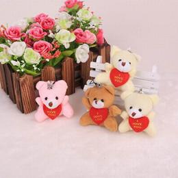 Wholesale 100pcs cm quot Plush Mini Teddy Bear Care Bear I Love You Pendants Toys Bouqeut jewellery accessory gift Soft Amigurumi Doll