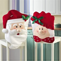 Wholesale DHL New Hot Fashion Santa Clause Cap Red Hat Furniture Chair Back Cover Christmas Dinner Table Party Xmas New Year Decoration Santa Claus