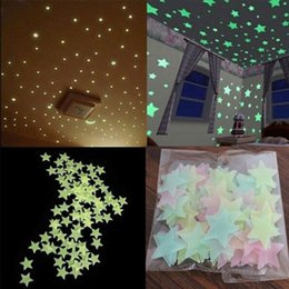 Wholesale Christmas Glowing Star - 500pcs 3d Colored Star Sticker Home Decor Glow In The Dark Wall Decal Room Party Decor 3cm