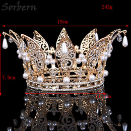 Sorbern Rhinestone Tiaras Bridal Crown Rose Gold Women Headpiece Floral Wedding Hair Accessories Crystal Bride Hair Jewelry Dropshipping