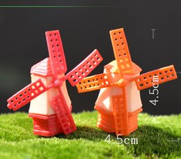 Wholesale 4pcs Windmill House fairy garden gnome moss terrarium home desktop decor crafts bonsai doll house miniatures DIY