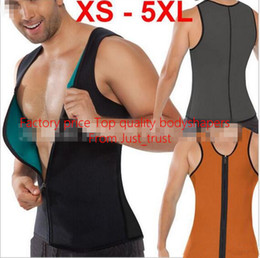 Wholesale 2016 Hot Men Ultra Sweat bodyshapers zipper vest shaper corset slimming Brun more fat Neoprene Rubber Bodyshaper