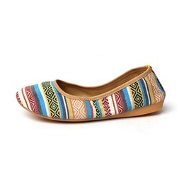 Wholesale Pattern Stripe Colorful Folded Roll Egg Dance Flat Slip On Ballet Shoes