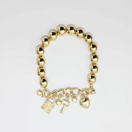 Wholesale op Grade Alloy Beaded Charm Bracelets Fashion Men Women Couple Bracelets DIY Handmade elasticity Bracelet Popular Jewelry Gifts Gold Silver