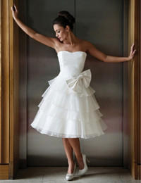 Hot Sale Tea Length Short Wedding Dresses Strapless Bow Ruffles Organza A Line Modern Design Bridal Gowns Custom Made