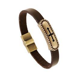 Wholesale 2016 New Arrival Fashion hollow cross antique copper metal rockers essential Leather Bracelet For loving couple